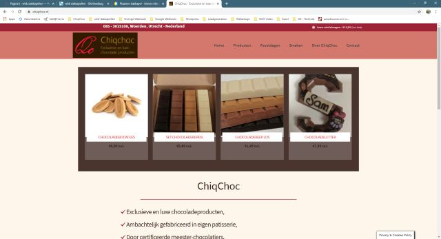 Pelatis - website klant chiqchoc